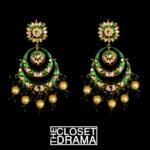 Green Meenakari Chandbali earrings