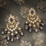 Rubab Grey Baroque Pearl & Polki Kundan Earrings